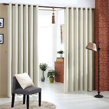 Beige 100% Blackout Curtains Pairs Heavy Fabric Thermal Eyelet Bedroom Curtains