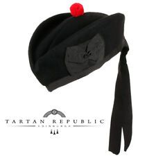 New Tartan Republic Scottish Piper Black Glengarry Military Hat - Choose Size