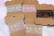 Lace Trims 1-27/64'' Black White Pink Green Yellow Wide Lace Lingerie 3 Yards
