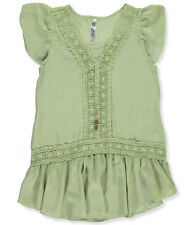 "Beautees Big Girls' ""Embroidered Frame"" Top with Necklace (Sizes 7 - 16)"