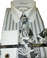 Mens Karl Knox White Gray Black Pin Collar French Cuff Dress Shirt & Tie SX4354