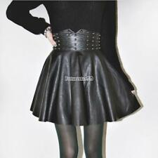 Autumn Winter Women Fashion Punk Style Rivet Synthetic Leather A-Line FT