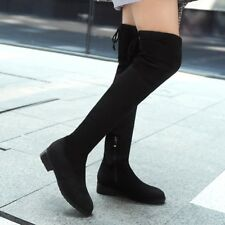 Womens Fashion Over The Knee High Boots Suede Lace Up Zip Low Flat Heel Shoes Sz