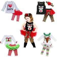 Toddler Kid Baby Girl CHRISTMAS Outfit T-shirt+Tutu Dress Pants Clothes XMAS Set
