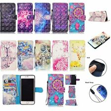 3D HYBRID Wallet Stand Leather Flip RUGGED TPU Cover Case For Sony Xperia Phones