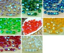 40pcs Crystal Ab Half Round Faceted Fire Polished Czech Glass Beads 6mm