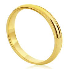 Women's 14K Yellow Gold Wedding Band 4mm Milgrain Domed Comfort Fit Promise Ring