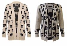 Ladies Skull Print Print Knitted Cardigan Womens Long Sleeve Open Front Jumper