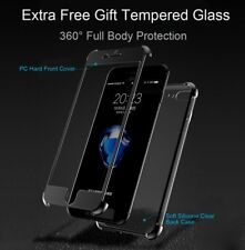 360° Hybrid Soft Gel Clear Slim Thin Case Tempered Glass Cover for iPhone 7 Plus