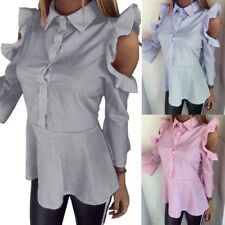Women Off Shoulder Button Down Stripe Ruffle Long Sleeve Peplum Blouse Tops