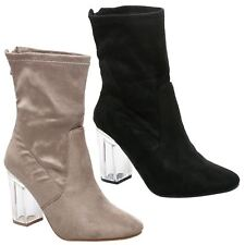 Ilaria Womens Mid Block Heels Perspex Stretch Calf Ankle Boots Ladies Shoes Size
