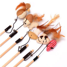 HOT Wooden Pole Hemp Mice Mouse Tease Cats Rods Plaything Environmental Pet Toys