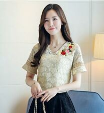 New Hollow Out Women Blouse V-neck Flare Sleeve Crochet Embroidery Tops
