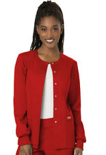 Cherokee Workwear Scrubs Snap Front Warm Up Jacket WW310 RED Red Free Shipping