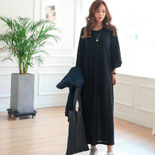 Women's Pure Color Straight Crew Neck Casual Loose Split Hem Long Dress Skirt