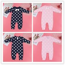Bow Polka Dots Long Sleeve Jumpsuit Clothes Infant Baby Girls Boys Rompers 0-18M