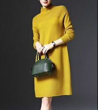 Women's Turtleneck Long Sleeve Knit Sweater Dress Pullover Knitwear Maxi Blouse