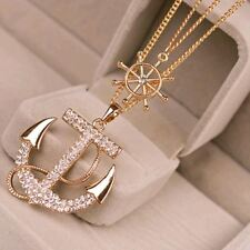 2 Colors White Navy Crystal Rhinestone Anchor Rudder Pendant Long Chain Sweater