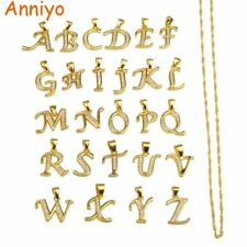 Small Letters Necklace Gold Color Initial Pendant Chain 45cm for Women,Cubic Zir