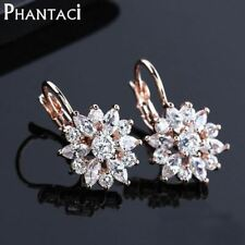 Earrings Rose Gold Color CZ Crystal Flower Dangle Earrings For Women Jewelry Who