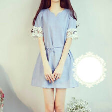 Women's Korean Style Lace Floral Sleeve Slim Fit Check Pattern Dress With Belt