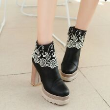 Womens PU Leather Platform Gothic High heels Ankle Boots Lace Floral Shoes Pumps