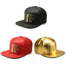 Stylish Men Womens VIP Leatters Hip Hop Caps Buckle Back Leather Cap Casual Hats