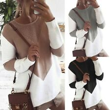 Women Cardigan Knitwear Contrast Color Patchwork Hollow Out Sweater Pullover
