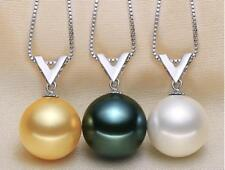 Natural Sea Shell Pearl (12mm) silve V pendant with S925 necklace