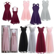 Womens Ladies Formal Fashion Lace Chiffon Midi Prom Dress Wedding Party Cocktail