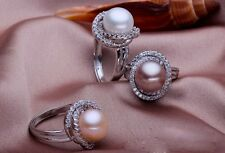 Natural FreshWater Pearl, Adjustable size Ring, Big Pearl 11-12mm, Gold Plated
