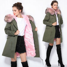 Women Colored Large Raccoon Fur Collar Hooded Parka Long Warm Jacket Coat Winter