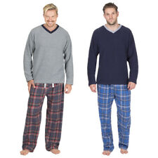 Mens Pyjama Set Xmas Gift Long Sleeved Microfleece Top Flannel Bottoms Nightwear