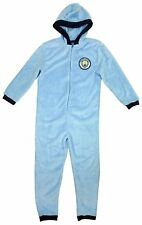 Boys Official MAN City Football M.C.F.C Club Hooded Onezie Zip Romper 3-12 Years