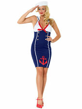 Ahoy There Hottie Navy Sailor Halter Rockabilly Pin Up Uniform Women Costume