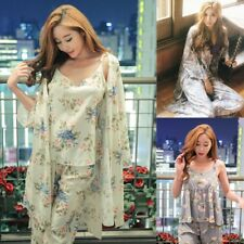 Floral Print 3 Pieces Pajama Set Camisole Pants Cardigan Style Tops Sleepwear