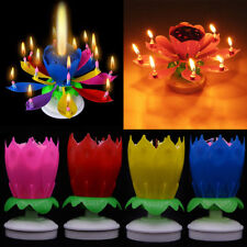 Delicate Candle Blossom Lotus Birthday Cake Topper Musical Rotating Decoration