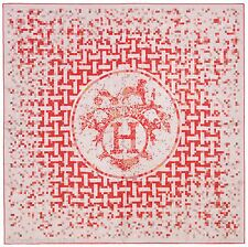Authentic Hermes Iconic Silk Scarf MOSAIQUE AU 24 Red Grey