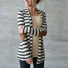 Plus Size Autumn Women Long Sleeve Striped Printed Cardigan  Knitted Sweater