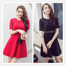 Women's Solid Hollow Out Crocheted Hem Stretch Slim High Waist Flare Mini Dress