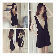 Women's Twinset Solid Round Neck Tee+Short Romper Jumpsuit Playsuit Two Pieces