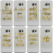 REAL GOLD FOIL SAYINGS CLEAR HARD CASE COVER FOR SAMSUNG GALAXY MOBILE PHONES