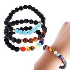 Men Women Handmade Natural Gemstone Beads Lava Rock Bracelet Beaded Stretch