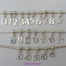 1 or 5 x Silver Plated Birthday Age Number European Charm Bracelet Dangle Beads