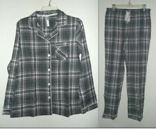NEW GILLIGAN & OMALLEY FLANNEL PAJAMA SET GRAY PLAID WOMENS size S or XL