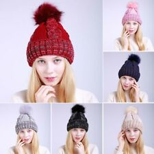 Women Winter Head Warm Knitted Wool Hat Thickened Cap With Fur Ball