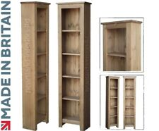 Solid Pine Bookcase, 1850mm x 460mm Handcrafted & Waxed Display Shelving Unit