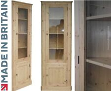 6ft Tall Solid Pine Glazed Corner Display Cabinet, Bookcase Unit with Cupboard