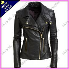 Womens Genuine Lambskin Motorcycle Real Leather Jacket Slim fit Biker Jacket #62