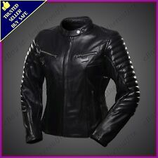 Womens Genuine Lambskin Motorcycle Real Leather Jacket Slim fit Biker Jacket #82